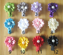 120pcs/lot Mini satin pearl flower with hair Clip,Ribbon Lined Alligator hair Clip for baby child,Girs' flower clips(China (Mainland))