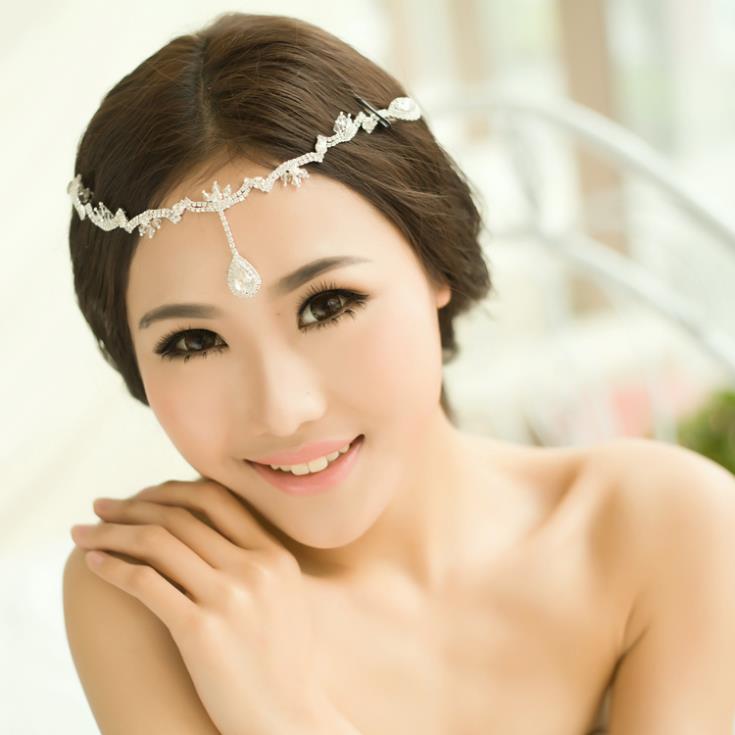 Crystal Bridal Frontlet Hair Clip Rhinestone Wedding Head Chain Crown Circlet Headband Headpieces Hair Jewelry WIGO0141(China (Mainland))