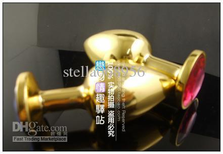 large size Gold Butt Plug with Ruby Gem /Metal Anal Toys/Sex Toys/Anal Plug/butt plug with jewelry