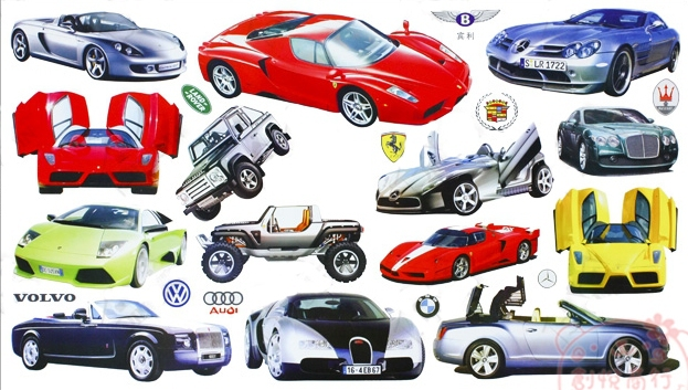 Luxury cars frozen wall stickers home decor sticker decoration adesivo de parede kids rooms decals decal P453 - Go store
