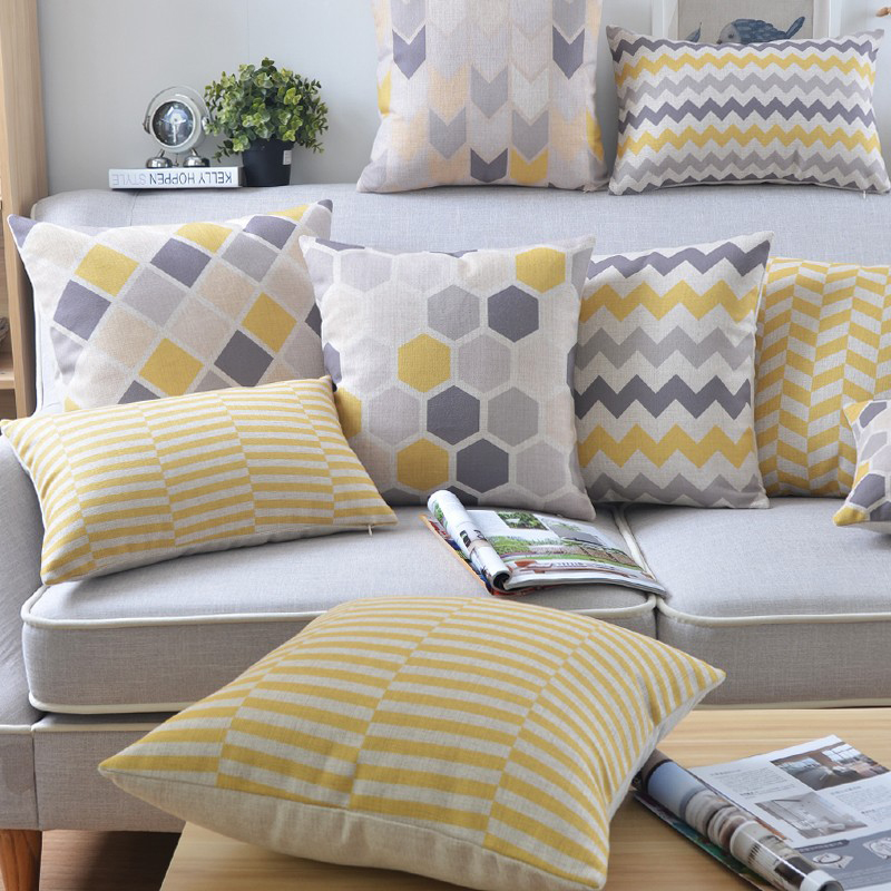 Grey And Yellow Geometric Custom Cushion Covers Stripe Plaid Creative Bed Sofa Throw Pillow Case Home Decoration Cojines 30*50cm(China (Mainland))