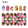 1pcs Colorful Flowers Glitter Nail Art Decals Full Cover Nail Wraps DIY Beauty Salon Nail Stickers