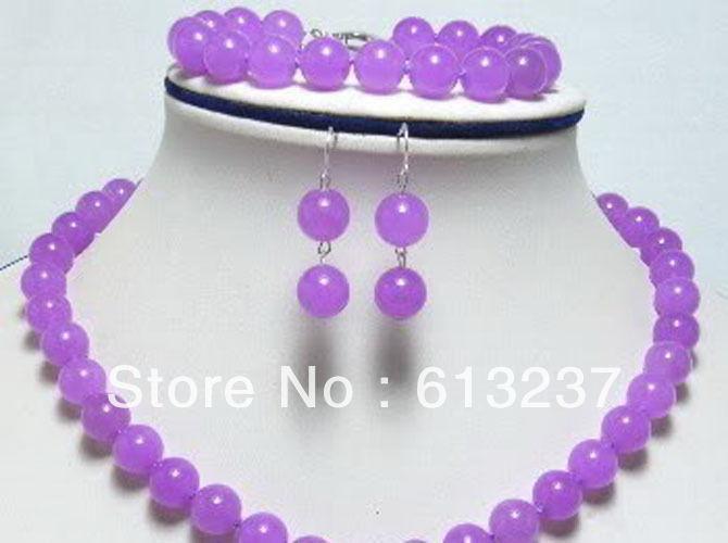free Shipping new 2014 Fashion DIY genuine 10mm purple jade necklace bracelet earring set YE00008(China (Mainland))