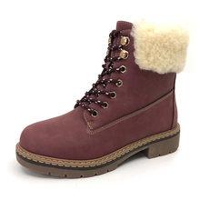 CAILASTE Kış kadın ayakkabı düz topuk yarım çizmeler yürüyüş tırmanma martin ayakkabı yün karışımı açık sıcak peluş taban lace up(China)