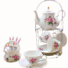 Hand-Painted Pink Flower Cups and Saucers Bone China 15 Piece Cool Coffee Mugs English Teapot Set Tea Service Coffee Cups Set
