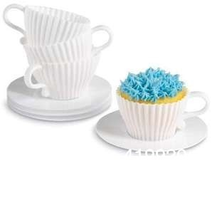 Baker's Delight 8pcs Bake & Serve Cupcake Set Silicone Cupcakes 4 Cups& 4 Saucers