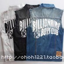 BILLONAIRE BOYS CLUB Slim Male Vest Denim Vest Autumn Waistcoats Motorcycle Jackets Sports Top Free Shipping C381(China (Mainland))