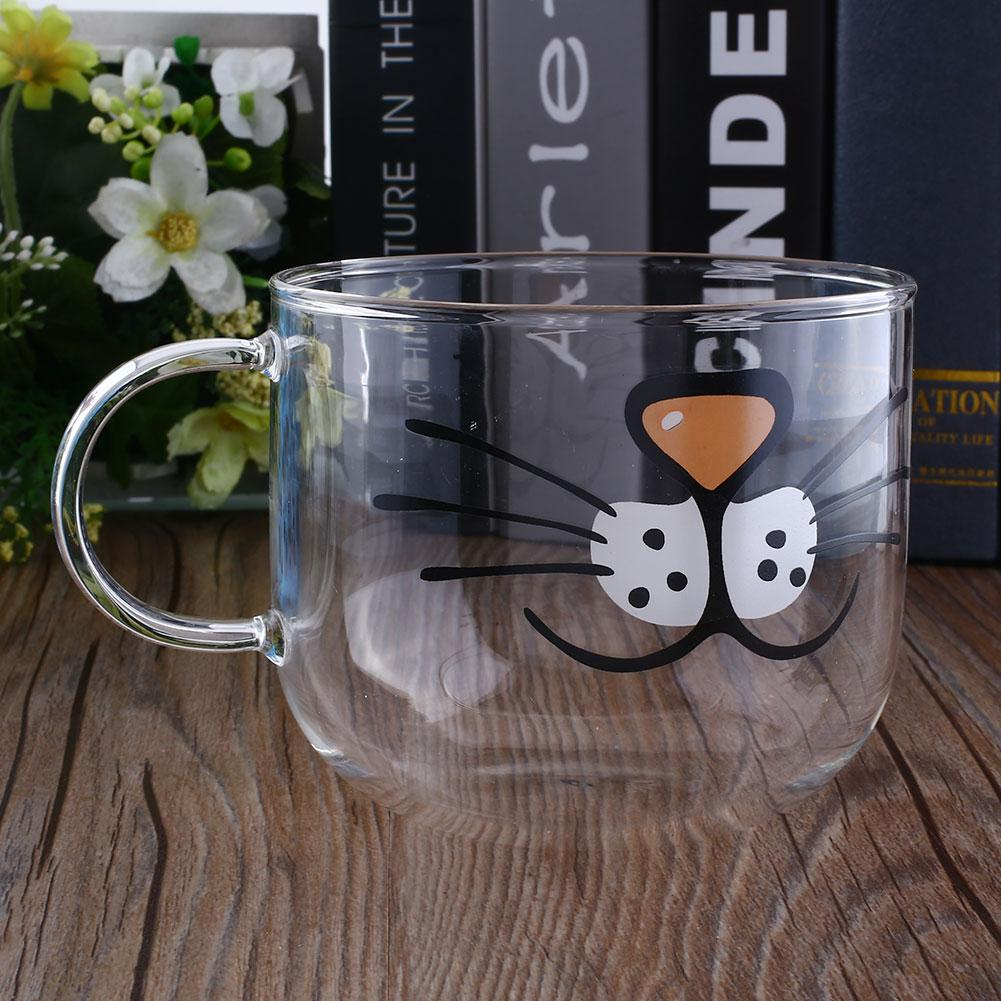 Lovely Cat Boronsilicate Glass Coffee Cup Home Transparent Clear Water Mug 550ML(China (Mainland))