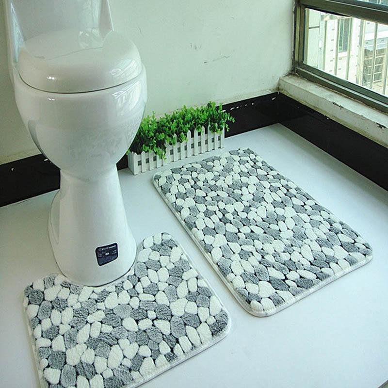 Гаджет  2pcs/set PVC Mesh Thicken Coral Fleece Floor Bath Mats Set Non Slip Bathroom Toliet Rugs 45*50+50*80cm Water Absorption Carpet  None Дом и Сад