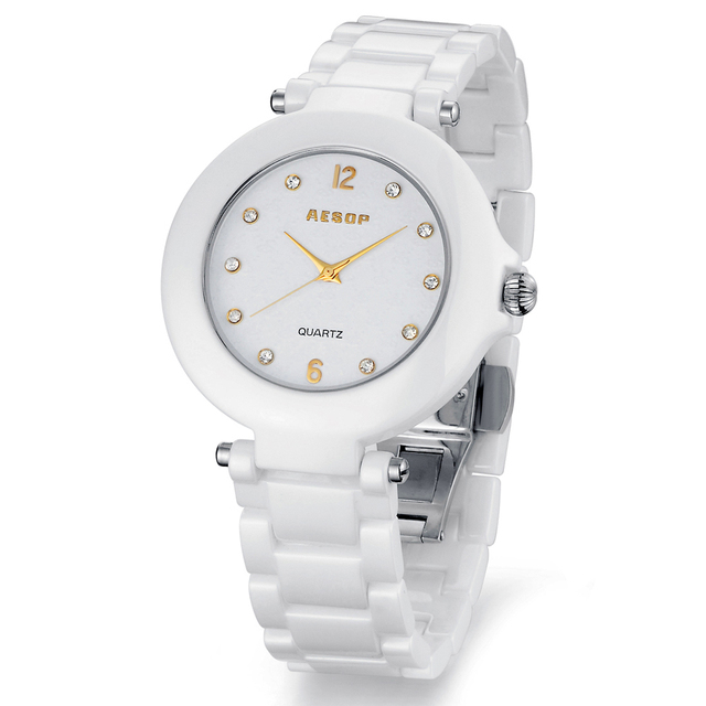 Aesop watch white ceramic rhinestone wristwatch women's waterproof fashion watches gold scale dial 9919