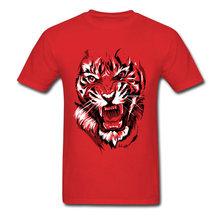 来る動物プリント男性 Tシャツグレーブラック Tシャツクレイジー轟音虎の絵の男性の夏のトップ Tシャツアートデザイナー(China)