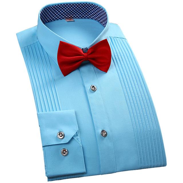 2016 новый бренд мода мужчины смокинг рубашка с длинным рукавом белое свадебное ну ...