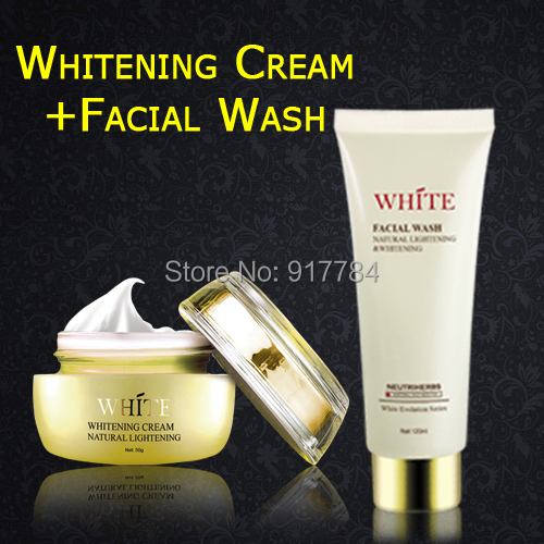 Skin Care Set 1pc Ultra Skin Whitening Cream+1pc Facial Wash Free Shipping Via Sinapore Post Air Parcel(China (Mainland))