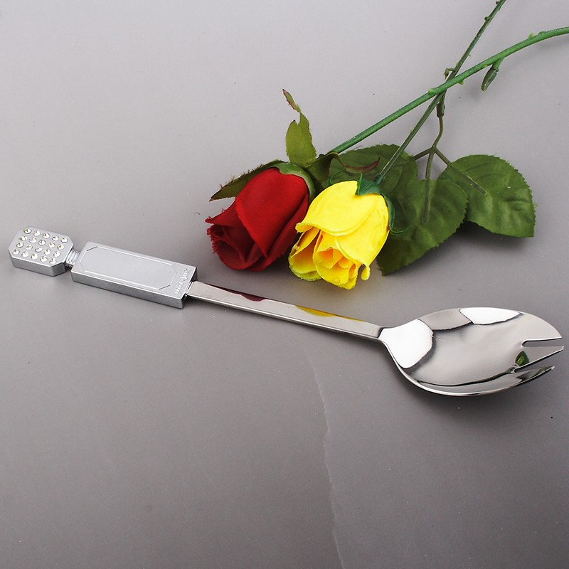 Buy 2016 new stainless steel spoon and forks 2pcs set metal tableware salad free shipping OH13052 cheap