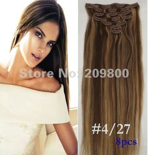"1Set 20""/22"" 8pcs high quality Straight  Human hair extensions Clips in/on Extensions #4/27,100g with clips"