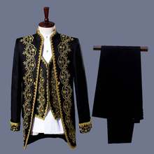 YUSHU Black White Three Piece Classic Mens Embroidery Palace Dress Suit Stage Singer Wedding Suits Latest Coat Pant Men Costume(China)