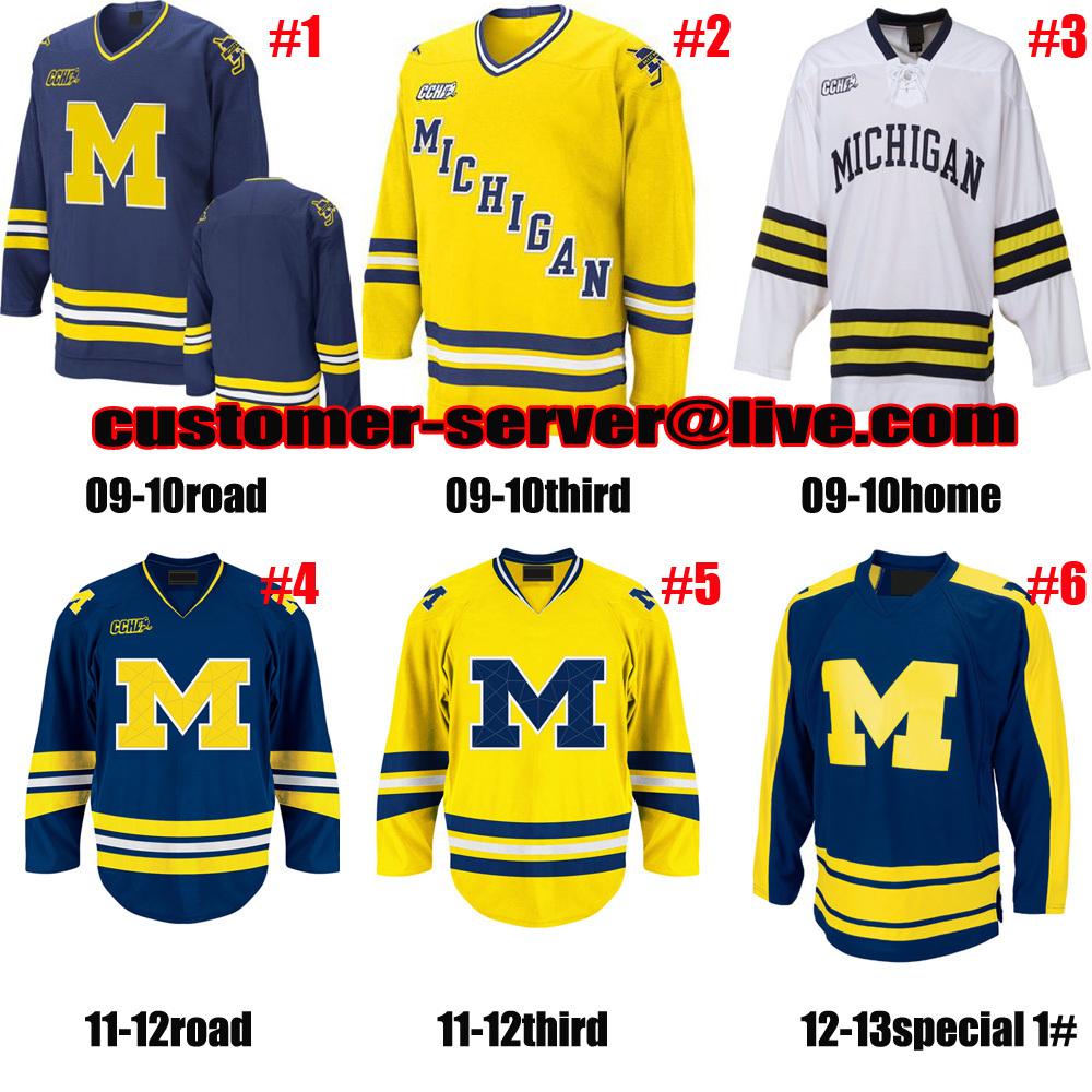 Custom NCAA hockey Jersey Michigan Wolverines jersey goalie cut 1 steve Racine 11 zach Hyman 10 Justin Selman 7 JT Compher - custom jerseys world store