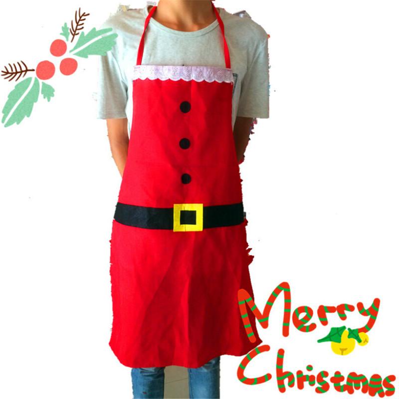 2015 Christmas Decoration Apron Kitchen Aprons Christmas Dinner Party Apron Santa Christmas Kitchen Apron Free Shipping(China (Mainland))