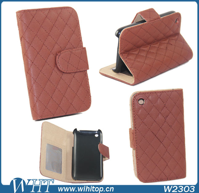 Case for iPhone 3Gs Wallet Case PU Leather + Stand function + Photo and Cards Slots + Free Touch Pen Gift(China (Mainland))