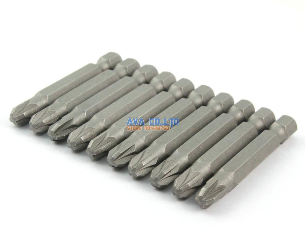10 Pieces Magnetic Pozidriv Screwdriver Bit S2 Steel 1/4 Hex Shank 50mm Long PZ3 Tip (50mm x PZ3)<br><br>Aliexpress