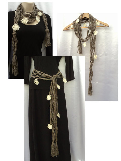Spring Flowers Net Skinny Scarf with Ivory white flowers pendant scarf natural colors- belt with flowers 5pcs/lot