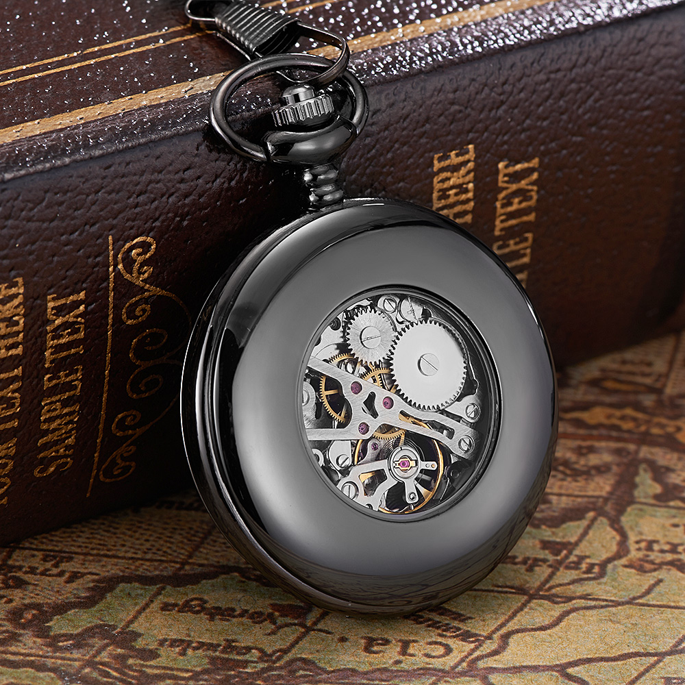 New OYW-P02 Hand Winding Mechanical Black Pocket Watch Men Vintage Black Skeleton Dial necklace pendant Pocket Chain Watches(China (Mainland))