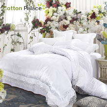 French wedding bedding set satin embroidery lace silk mix cotton luxury duvet cover flat sheet bed linen/quilt cover set