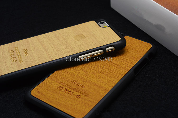 Arrive! Wood Grain 4.7 Inch Case iphone 6 Luxury PC Leather Hybrid Phone Back Cover 5.5 PLus - March_e-store store