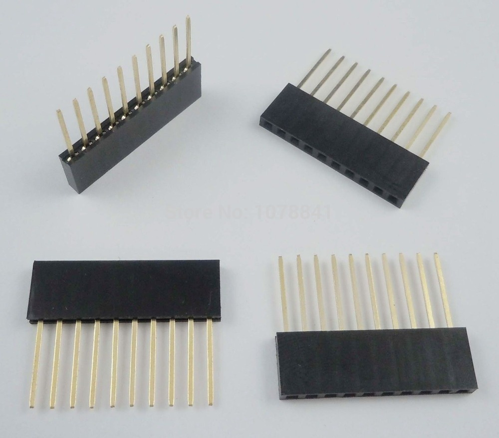 200 Pcs Per Lot 2.54mm Pitch 10 Pin Single Row Stackable Shield Female Header for Arduino от Aliexpress INT