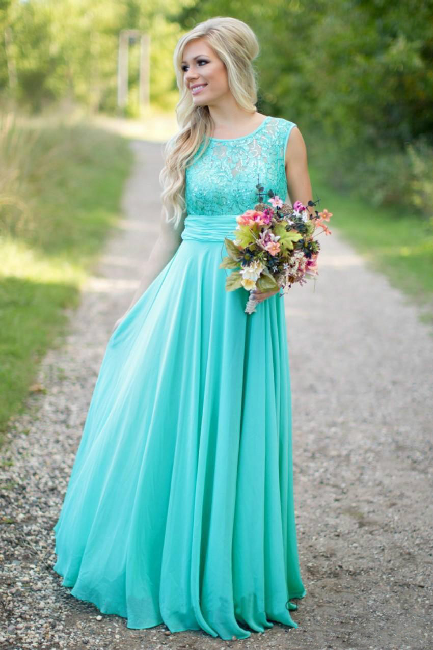 Fantasy turquoise bridesmaid dresses crew neck sequined for Maid of honor wedding dresses