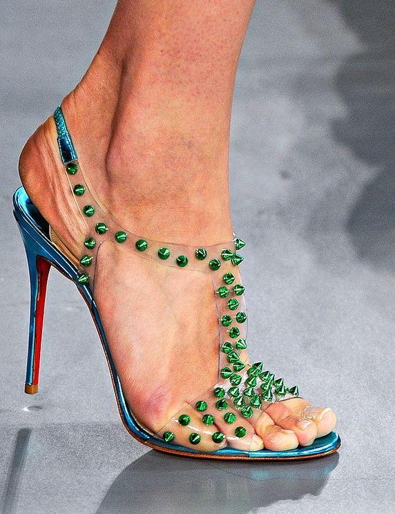 Plus size female transparent pvc high heels 100mm green rivets spiked plastic t strap pumps 2014 summer women shoes sandals<br><br>Aliexpress