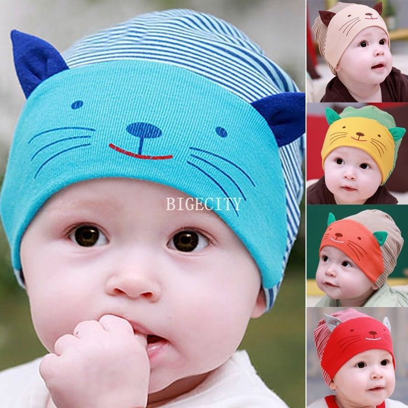Winter Baby hat Cute Newborn Photography Props Boy Toodler Infant Striped Beanies Cotton Cap Beanie Hat kids Y1 - Shenzhen Xinerxin Co.,Ltd store
