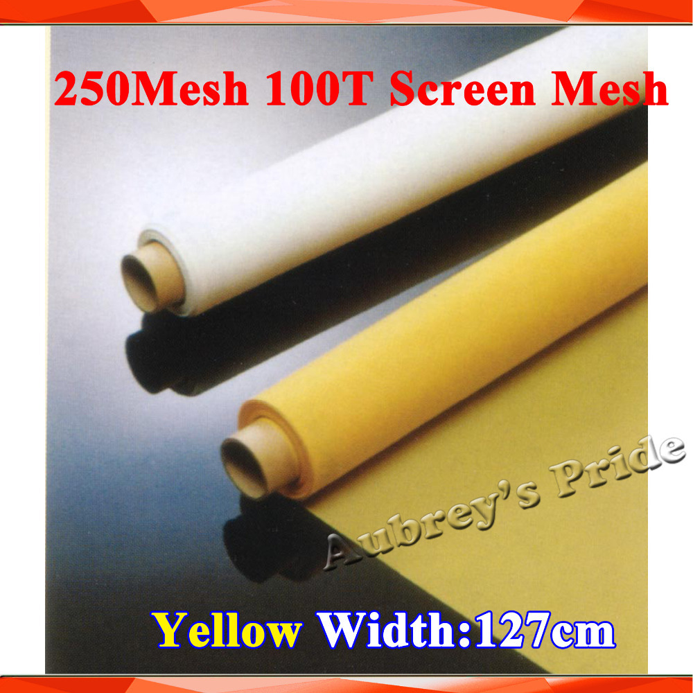 Free Shipping 5Yards Meters 250Mesh Yellow Count Silk Fishing Net Stenci Polyester Silk Screen Printing Mesh 100T 127CM Width(China (Mainland))