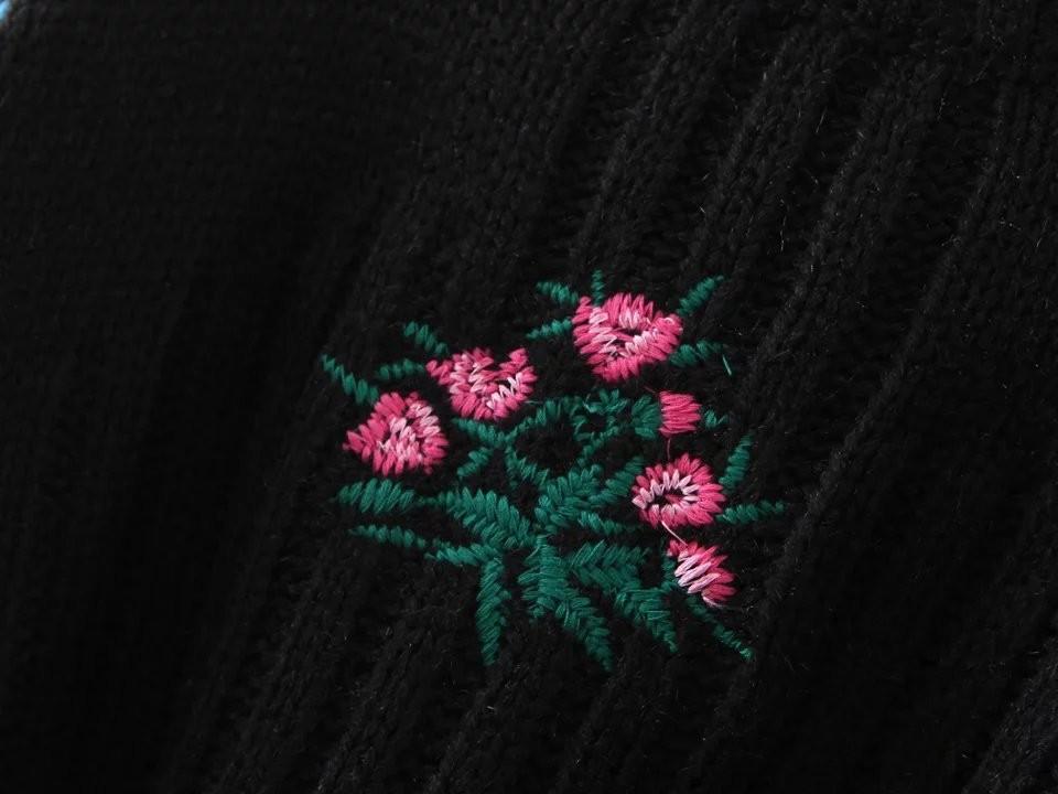 ฤดูใบไม้ร่วงใหม่สไตล์ยุโรปบูติกระดับhigh-endแฟชั่นของผู้หญิงป่าดอกไม้ปักเสื้อสเวตเตอร์ถัก ถูก