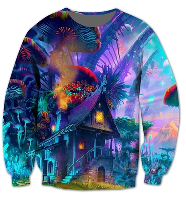 Women Men 3d Print Crewneck Sweatshirts Wonderland World Sweats mushroom trippy psychedelic Hoodie Jumper Outfits Sport Tops - Fashion 3D Clothes store