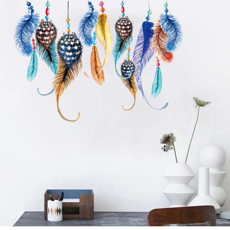 90 30cm Colorful Feather Wall Stickers Home Decor Adesivo