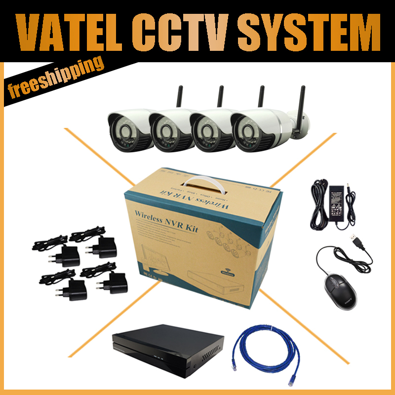 1280*960P 4CH Wireless IP Camera Bullet Camera Kit with 4ch NVR Onvif and Private Protocol CCTV System Factory direct sale(China (Mainland))