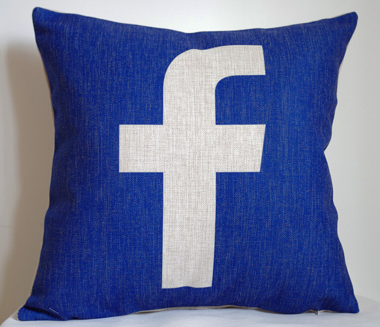 Facebook pillow cover, Creative social media logo Facebook throw pillow case pillowcase wholesale(China (Mainland))