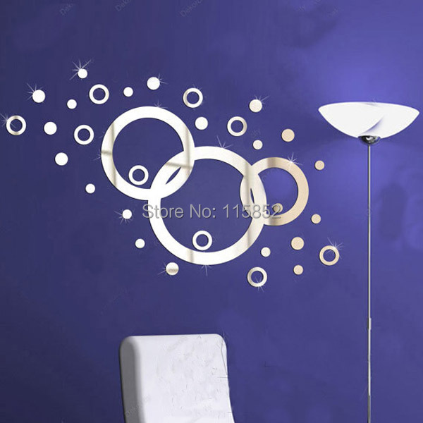 ! 3D DIY Plastic Fashion Mirror Wall Sticker Home Decor 1MM Thickness ,3Circles ,3D - Joya Store store