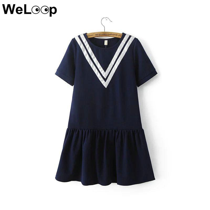 Weloop Korean Fashion Cute Dress New 2016 Autumn Short Sleeve Ladies Midi Dresses Dropshipping Designer Clothes Jurken Robe(China (Mainland))