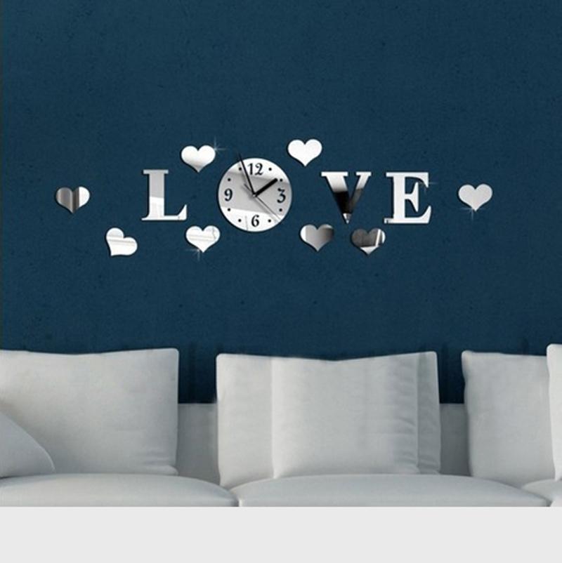 Creative Fashion Acrylic Diy Mirror Wall Sticker Clock LOVE Style Decor Good Gift Decal - YIWU E-MOON E-COMMERCE FIRM store