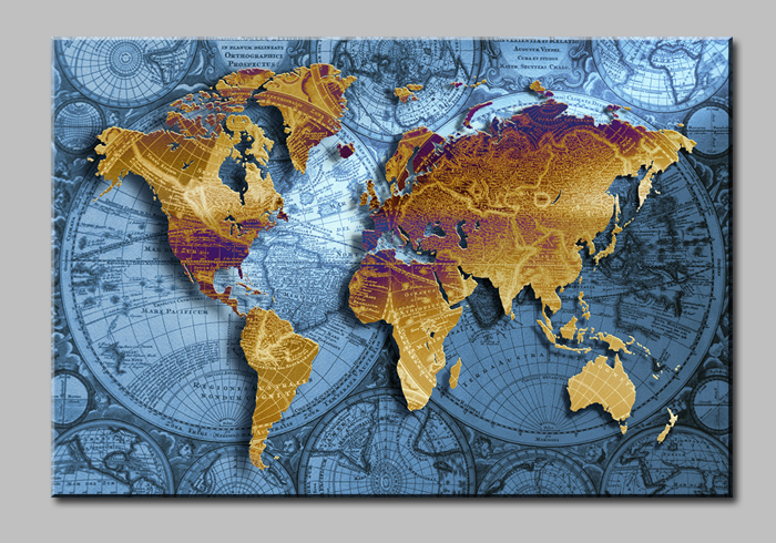 Wall Art Hd Pic : Aliexpress buy golden world map with blue sea large