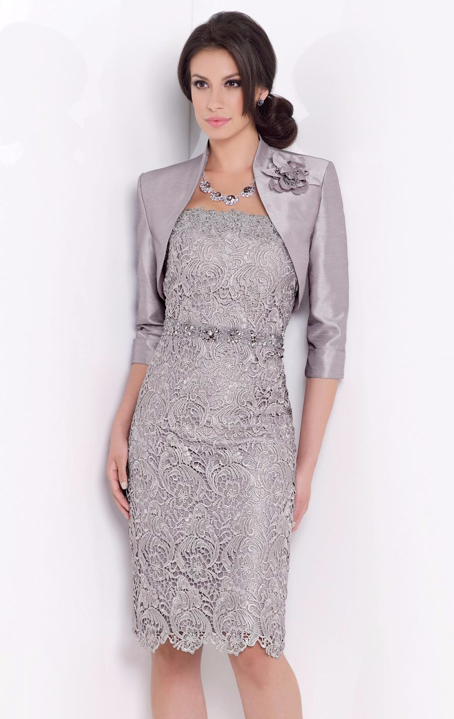 Beaded Knee Length Satin Mother Of The Bride Dress With Jacket