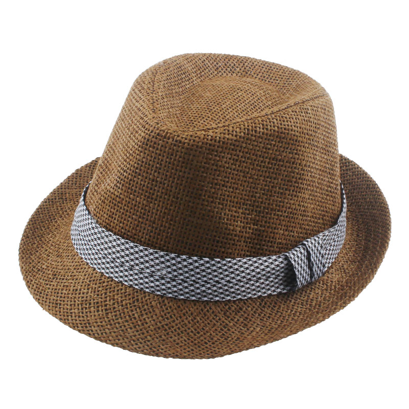 Fashion Boys Girls Fedora Trilby Gangster Cap Kids Summer Beach Sunhat Infant Straw Panama Hat with Band QRD012(China (Mainland))