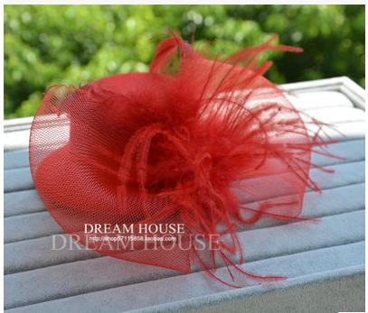 Hot sale fashion nylon material red feather bowknot adornment headgear accessories little hat hairpin headdress