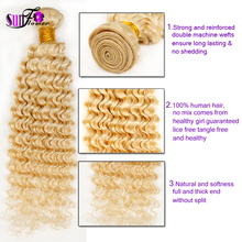 Irina Hair Products Cheap malaysian deep wave Curly Virgin Hair 2 bundle/lot 613# 10-30 mix length tight curly blonde human hair