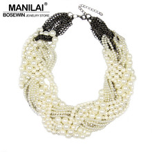 Buy MANILAI Women Handmade Chunky Imitation Pearl Necklace Fashion Rhinestones Collar Chokers Necklaces Statement Jewelry Bijoux for $5.99 in AliExpress store