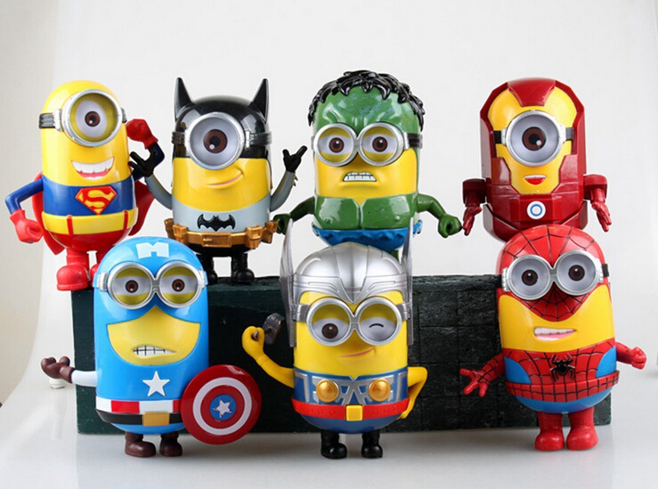 Despicable Me Superhero Minions Action Figure Toy 150mm PVC Anime Movie Toys Minion Superman Spider man Brinquedo Minions 7pcs<br><br>Aliexpress
