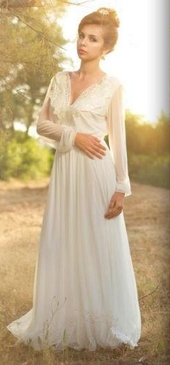 Inform Newly Design 2016 Boho Wedding Dresses Long Sleeves V Neck Open Back Vintage Bridal Gowns(China (Mainland))