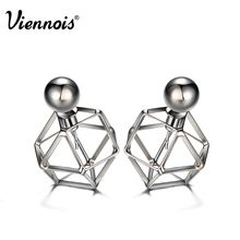 Viennois Brand New Gun Plated Stud Earrings for Women Vintage Geometric Double Side Earrings Hollow Out Front/Back Earrings(China (Mainland))